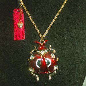 Nwt: Red Enamel Clear Crystal Ladybug Necklace